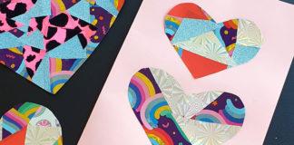 contact paper scrap hearts