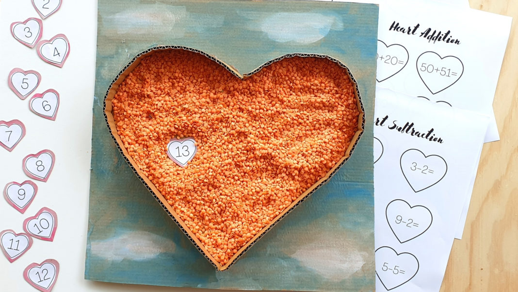 recycled sensory math heart puzzle