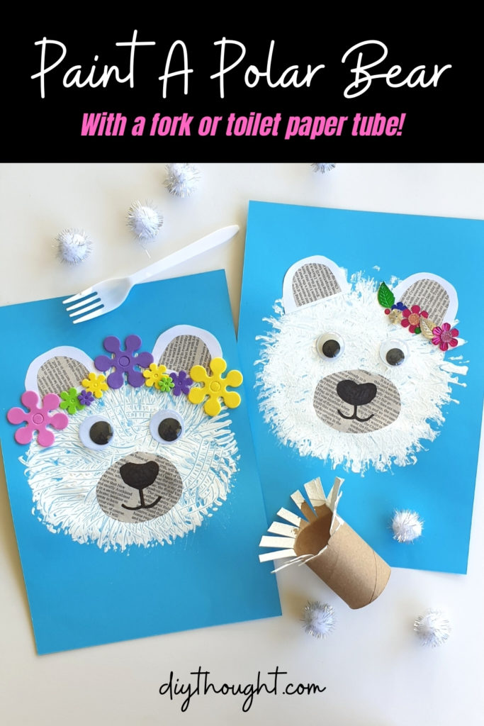 paint a polar bear with a fork or toilet paper