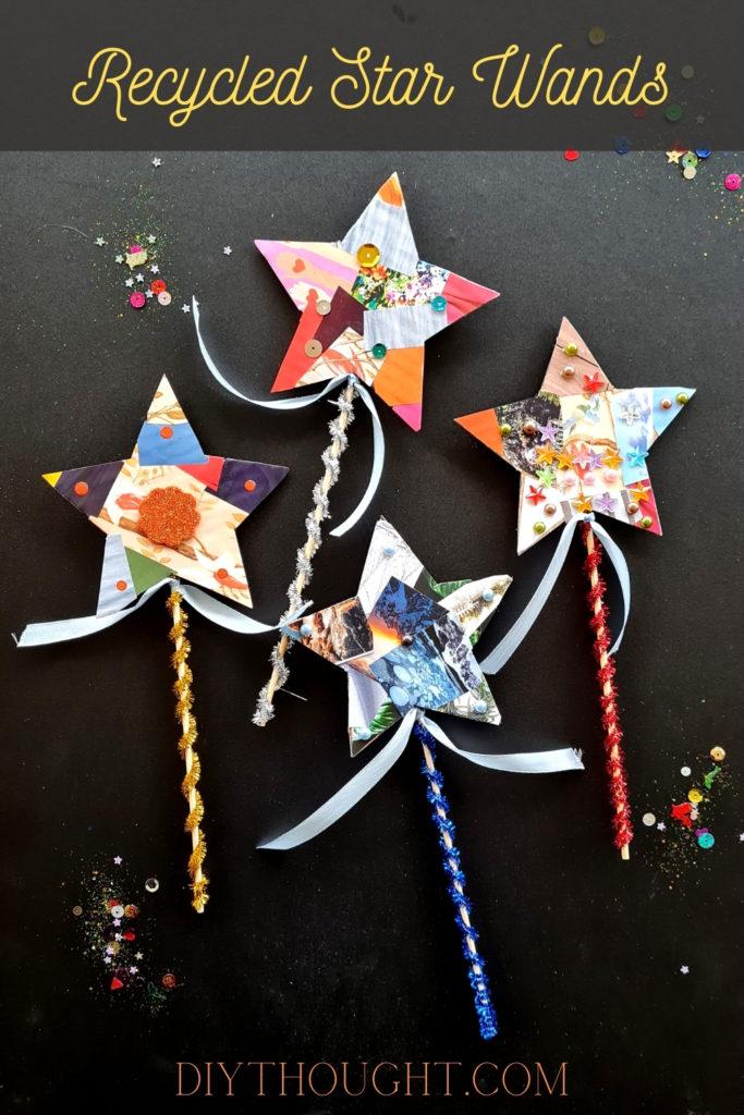 Recycled Cardboard & Magazine Star Wands