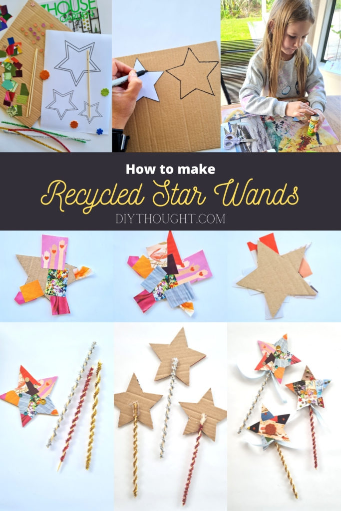 how to make Recycled Cardboard & Magazine Star Wands