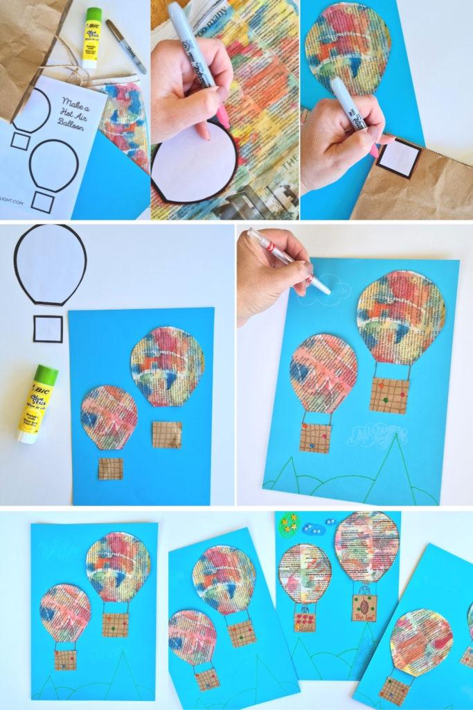 how to make Newspaper Hot Air Balloon Kids Art