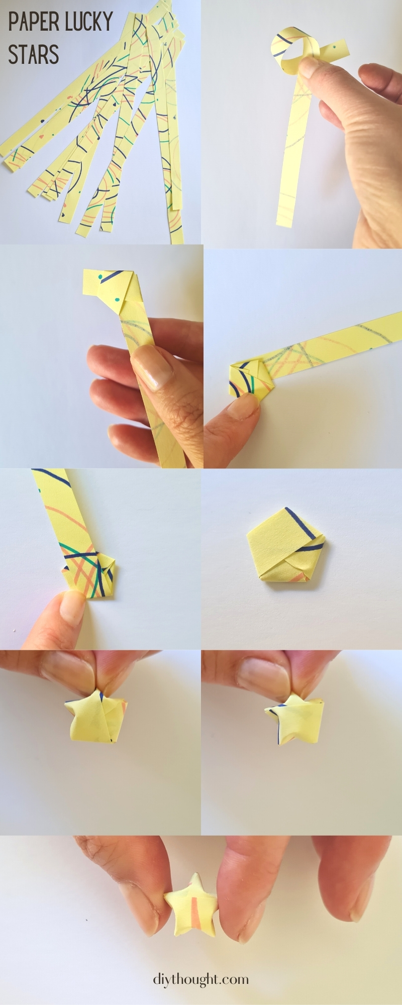 paper strip lucky stars. How to fold