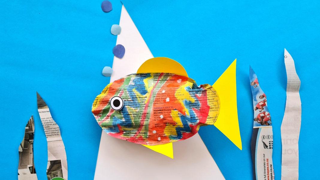 newspaper stuffed fish craft